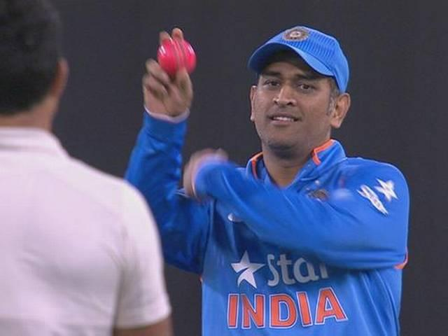 dhoni with pink ball