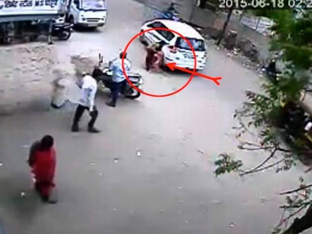 Nashik: CCTV captures an infant's miraculous escape after car runs over her