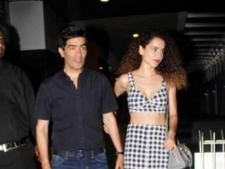 kangna spotted outside a restaurant with designer manish malhotra