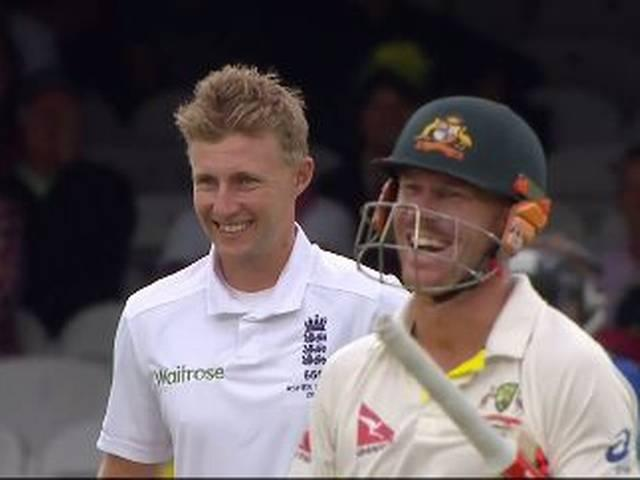 Joe Root and David Warner shared a smile as a beautiful lady fell from her seat