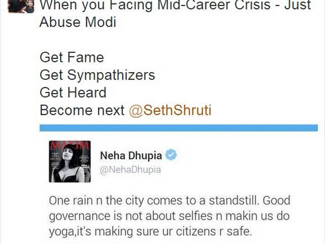 Neha Dhupia faces sexist comments on Twitter for criticising 'good governance' of Modi government