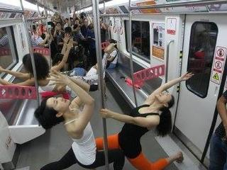 yoga in a running train in china