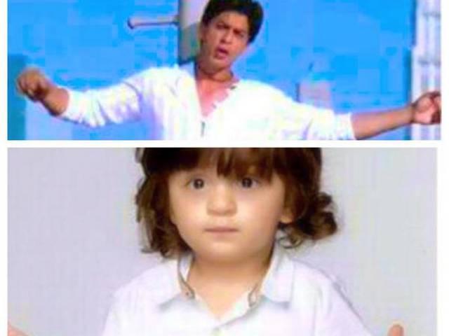 AbRam strikes SRK's signature pose; Doting father shares the photo