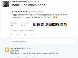 bollywood greets genelia on twitter on he birth day