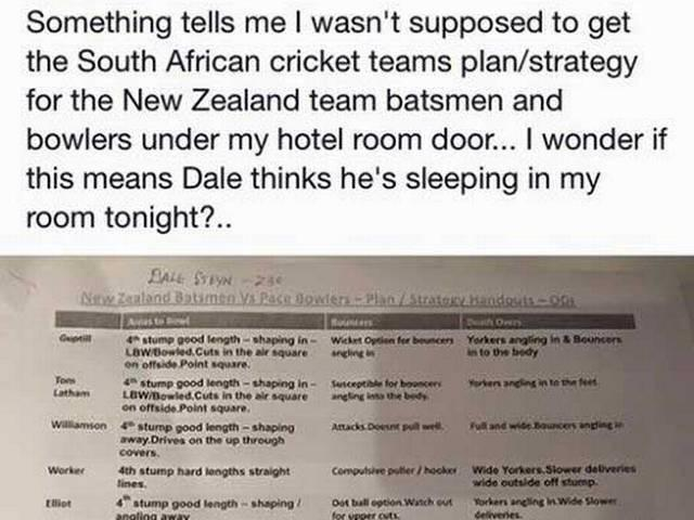 South Africa leave NZ bowling strategy in wrong hotel room