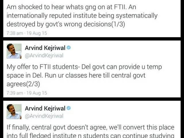 Come Attend Classes in Delhi, Says Arvind Kejriwal to FTII Students