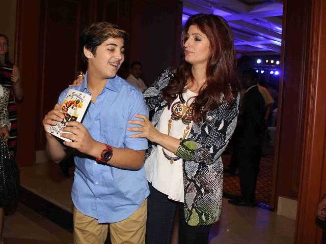 Twinkle Khanna along with her son Aarav during the launch of her book Mrs.Funnybones