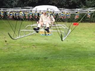 Man takes to the skies in world-first pentacontakaitetracopter