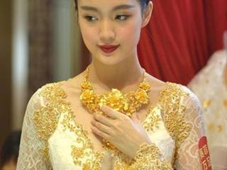 Gold wedding gowns displayed in Shenzhen