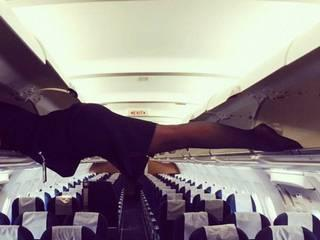 this is what air hostesses do when nobody's there in the plane