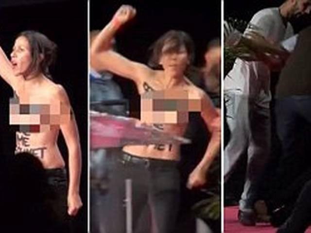 topless feminists protestors storm Muslim conference