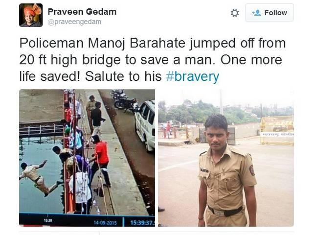 Police Man Jumps Off A 20 Feet Bridge for saving someone's life