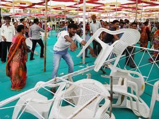 PM's birthday celebrations: chaos after stage collapses in gujrat