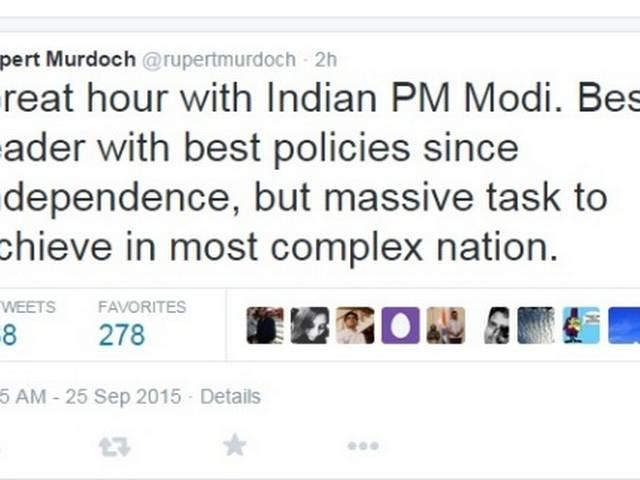 Modi is the best leader with best policies since independence : Rupert Murdoch