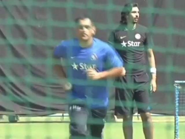 India captain msdhoni has a bowl at the nets with fellow pacers in Bengaluru