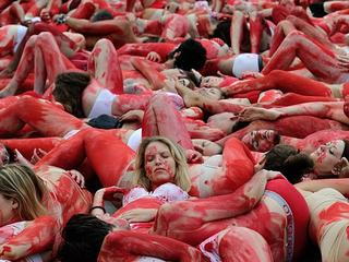 France_Animal_Rights Activists_Bloody_protest