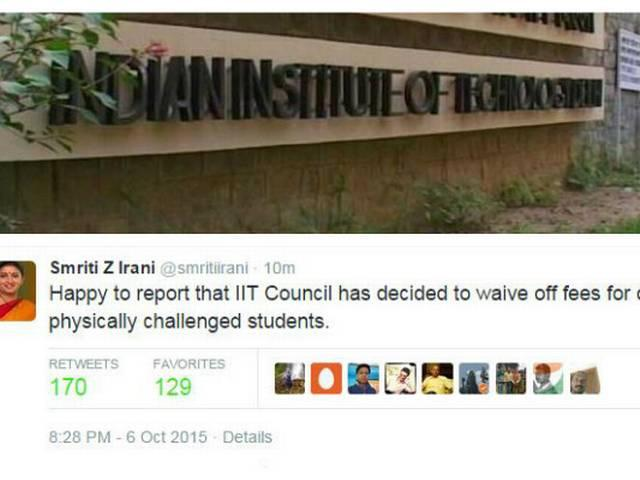 IIT Council to waive off fees of physically challenged students, tweets smiriti irani