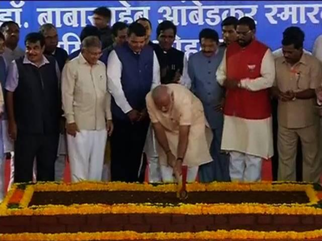 PM Modi lays foundation for Ambedkar memorial in Mumbai, Shiv Sena boycotts event