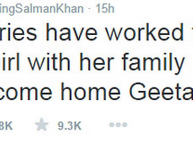Salman Khan tweeted: Welcome home Geeta