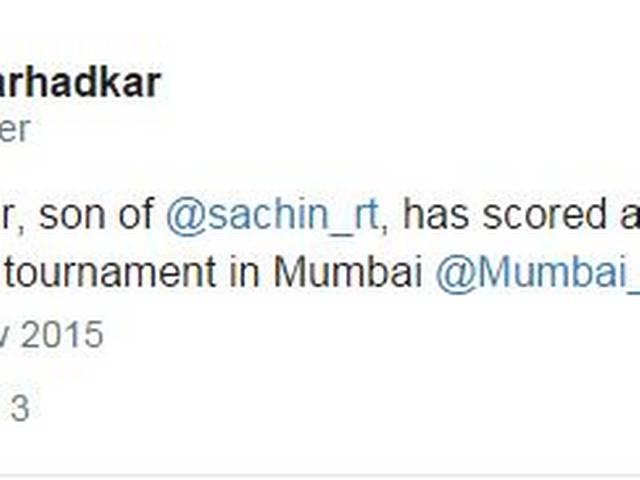 Arjun Tendulkar smashes century in U-16 tournament