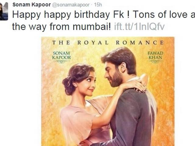 Sonam send love to her 'khubsurat' cp star Fawad khan