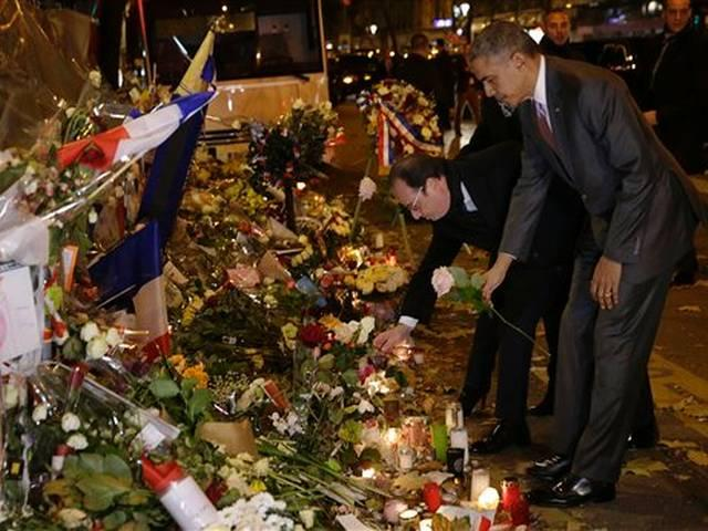 Hollande,Obama pay respects at Bataclan memorial