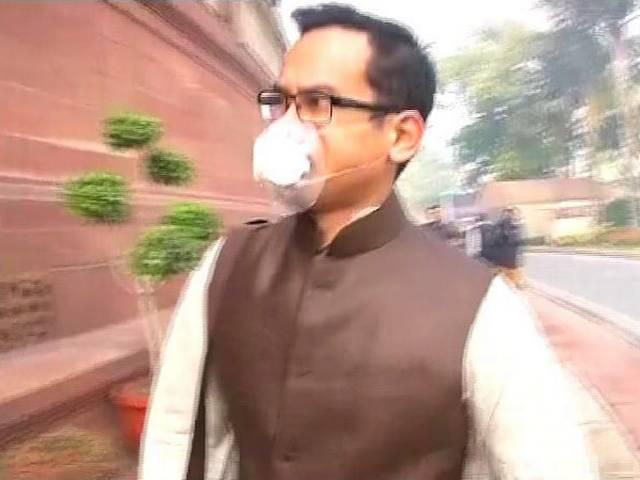 Fed up with pollution MP Gaurav Gogoi reached Parliament with mask