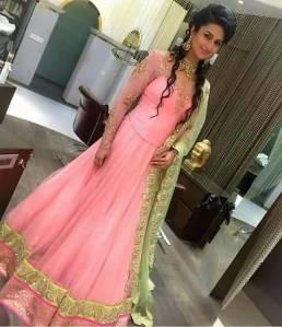 Divyanka Tripathi in a Pink dress for her Roka Ceremony with co star Vivek Dahiya