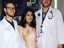 'Injured' Salma Hayek rushed to hospital in a COMPLETELY inappropriate T-shirt!