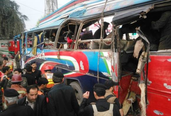15 killed, 25 injured in Peshawar bus explosion