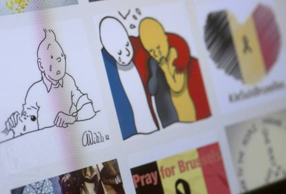 Iconic Belgian cartoon Tintin sheds tears over Brussels terror attack