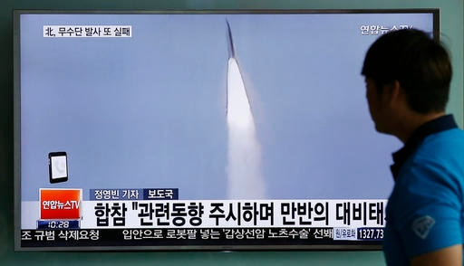 South Korea says North fails with attempted missile launch