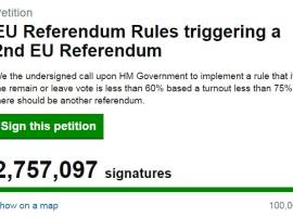 Over 2.5 million Britons sign petition demanding second EU referendum