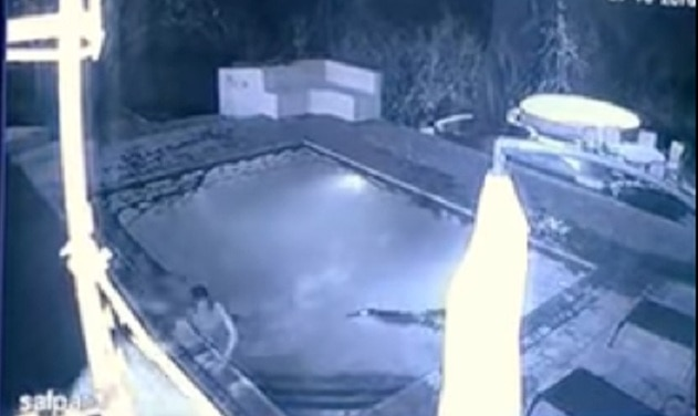 Crocodile attacks couple swimming in hotel pool in terrifying footage