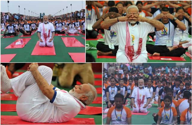 PM Modi performs asanas amid rain, says yoga connecting world with India