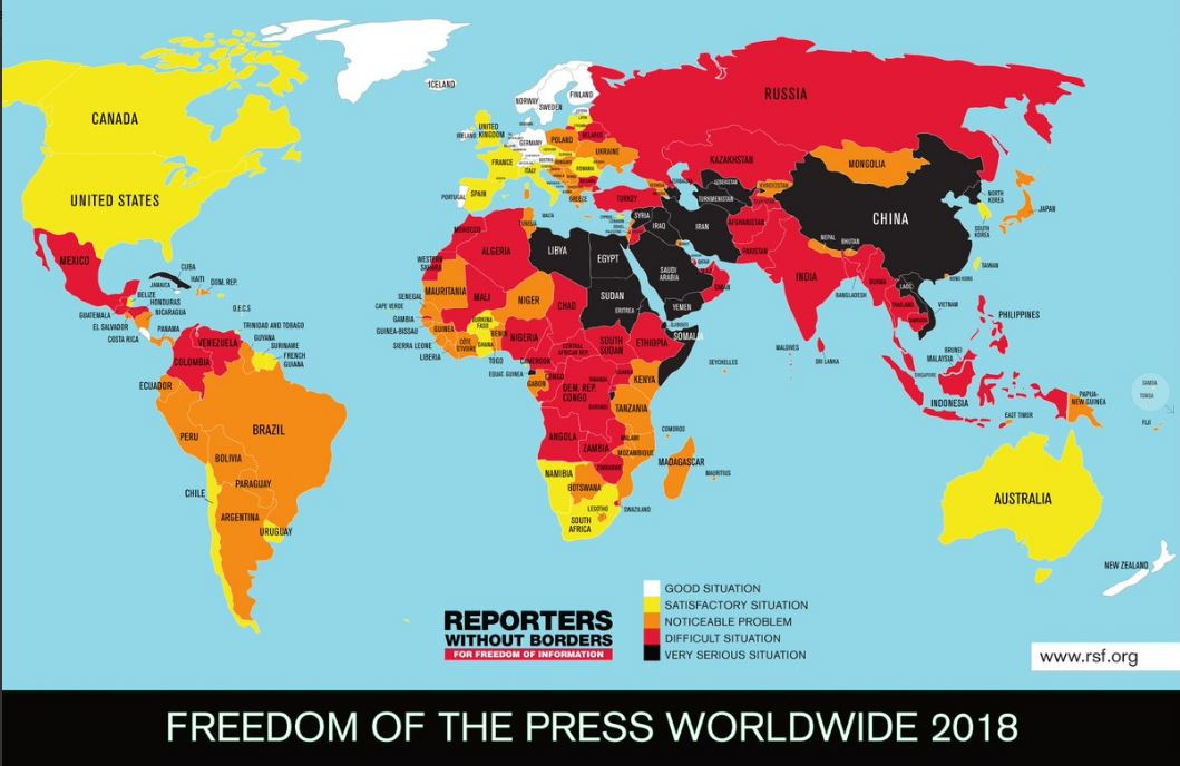 India slips down to 138th position in terms of press freedom; Nepal, Bhutan and Sri Lanka better off