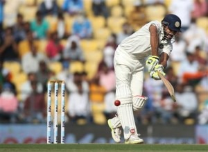Indian batsman Ravindra Jadeja plays a shot against South Africa on the first day of the third test match between the two countries in Nagpur, India, Wednesday, Nov. 25, 2015.(AP Photo/Rafiq Maqbool)