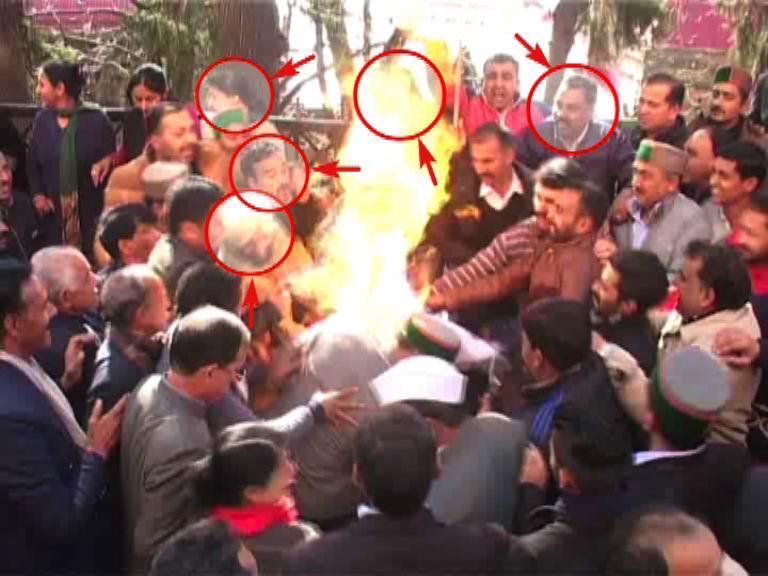 Congress protesters burnt while burning Modi's effigy