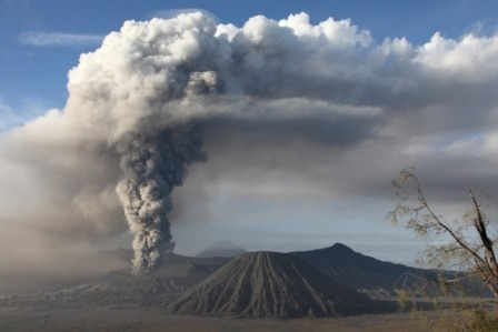 The volcano spewed column of ash by up to 1.5 km to the sky