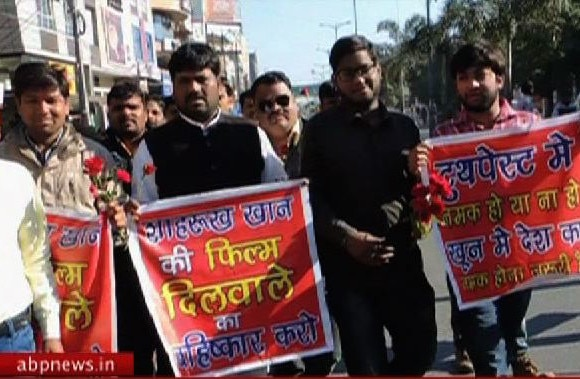 Protest against shah rukh dilwale