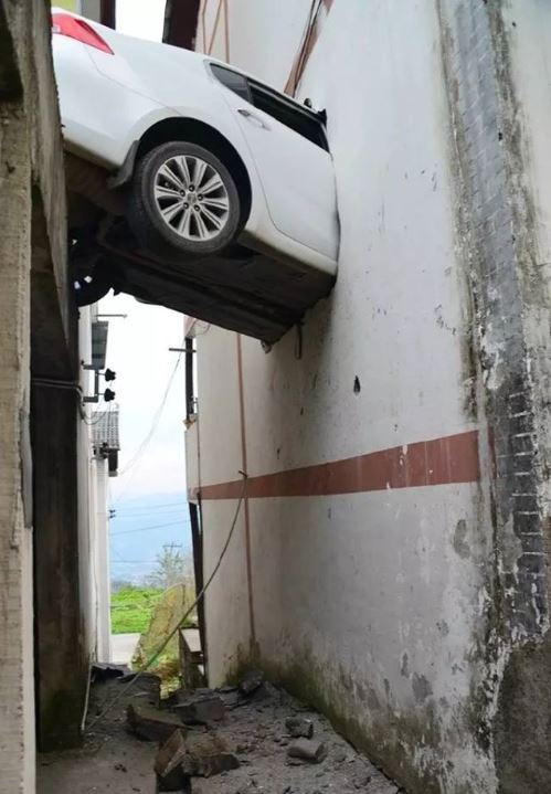 Car Rushed into A House' Second Floor in SW China.