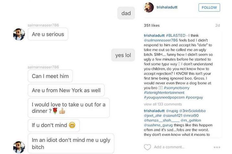 man named salman gets befitting response from sanjay dutt's daughter