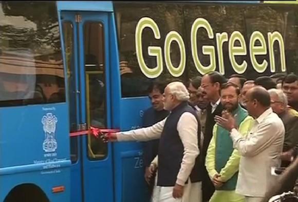 pm narendra modi electric bus