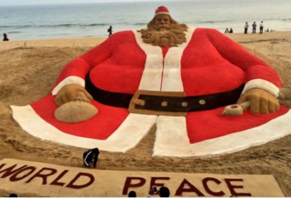 Sudarshan Pattnaik creates world's tallest Santa Claus sand art; hopes to make world record!