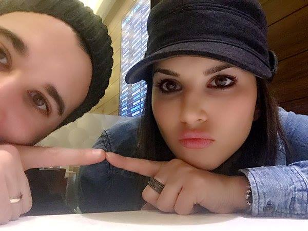 Sunny Leone and Daniel Weber on our way to LA and then celebrate new year