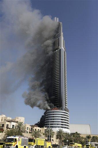 Fire engulfs Dubai hotel near Burj Khalifa