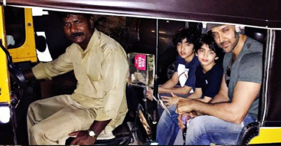 hrithik roshan take auto ride with sons