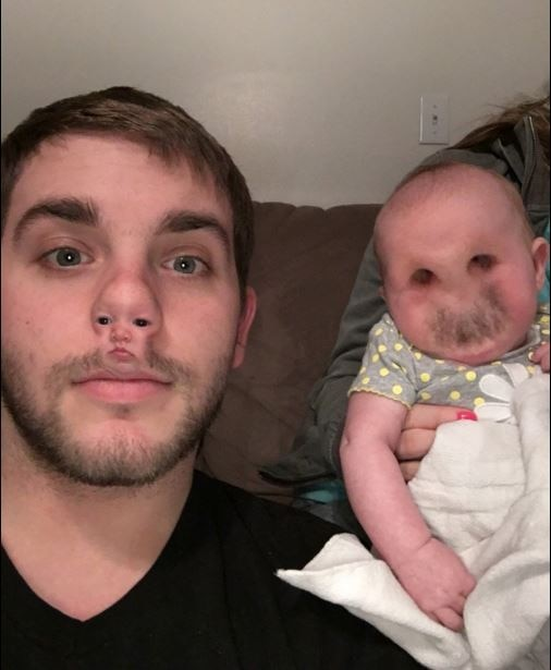 Father's horrible face swap fail leaves baby daughter looking like a creepy demon