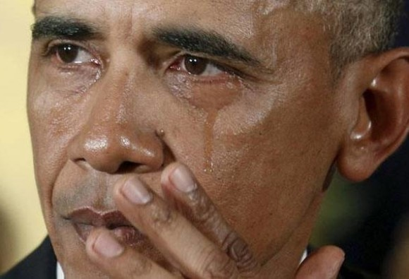 Obama says he was himself surprised by his public crying