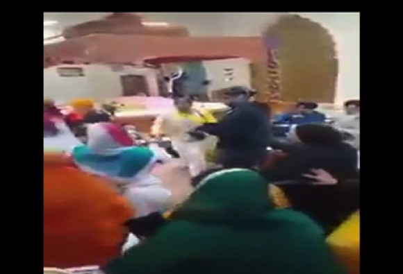 dramatic fight at the Turlock Sikh Temple in California